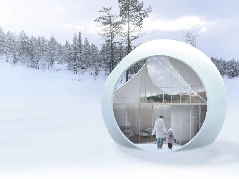 خانههای کروی غیرعادی - فرم کروی بدنه سازه برای هدایت برف باران