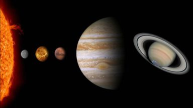 ماه و پنج سیاره منظومه شمسی در یک امتداد