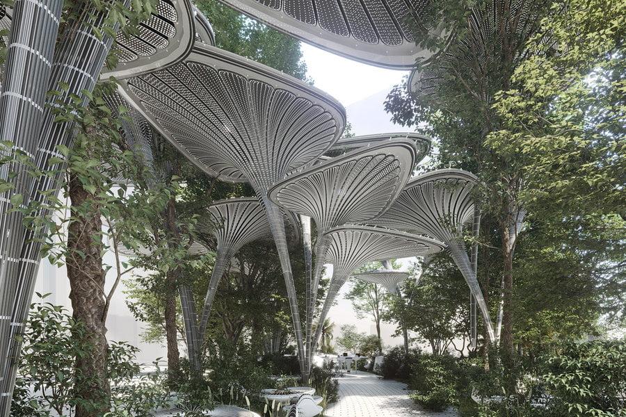 معماری پایدار درخت نخل  آینده گرایانه و ساختاری محیطی