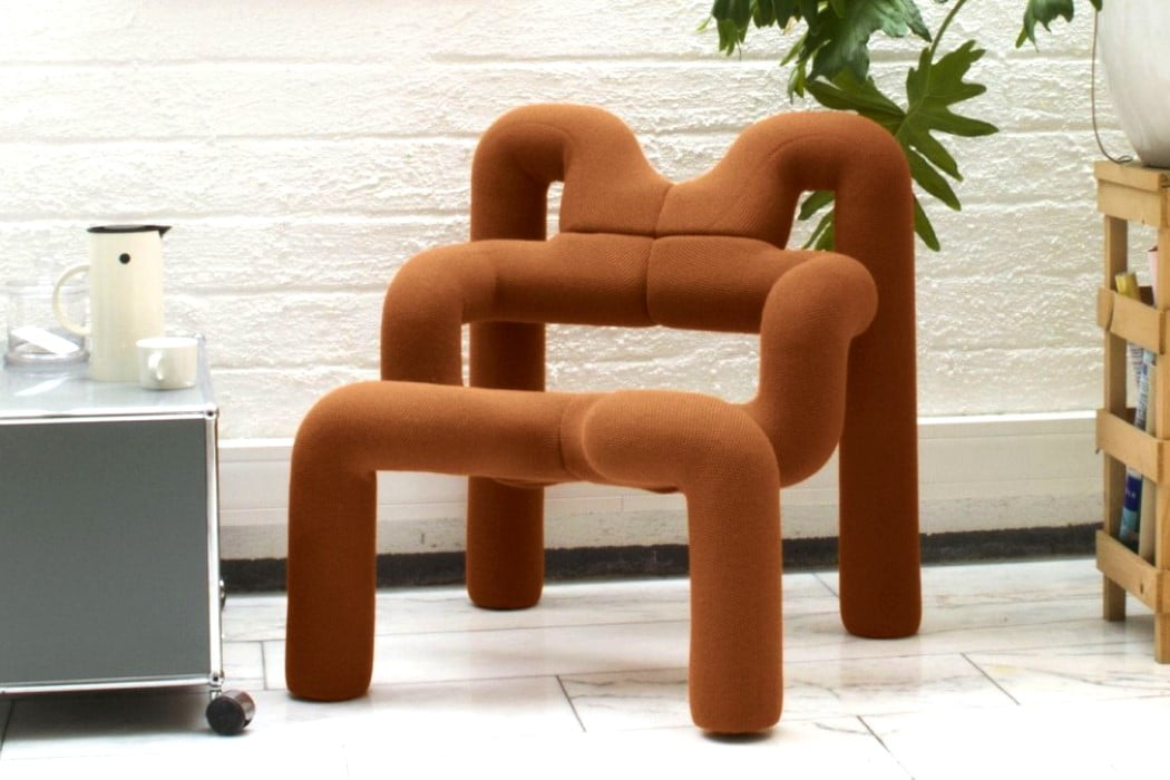 صندلی غیرعادی پست مدرن - رنگ نارنجی کدر و فضایی دوستانه