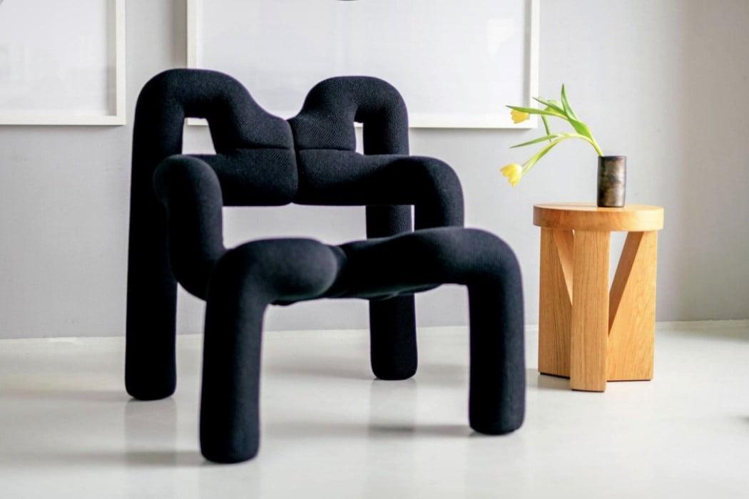 صندلی غیرعادی پست مدرن - رنگ مشکی و ایجاد تضاد در فضاهای مینیمال